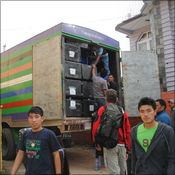 Packing the lorry at Summit Trekking