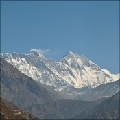 First views of Mount Everest on the trek