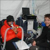 Ori having his hypoxic ventilatory response tested at Everest Base Camp