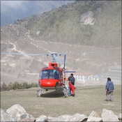 Heli arrives for sample transport to Kathmandu