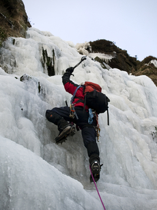 Nick Mason Photo of DH leading main pitch Torpantau Falls