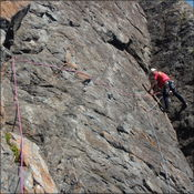 David leading pitch 2 of Astral Blue Mod 70m First Zawn North FA 30