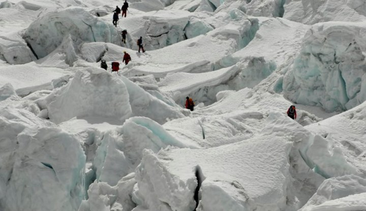 Climbers in the Khumbu icefall